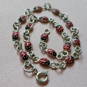 Jewelry - Gorgeous Sterling lady bug Anklet